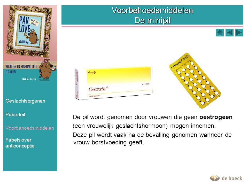 Voorbehoedsmiddelen De minipil De pil wordt genomen door vrouwen die geen oestrogeen (een vrouwelijk geslachtshormoon) mogen innemen. Deze pil wordt v