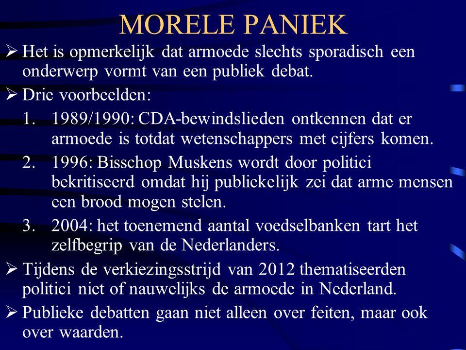 MORELE PANIEK  Het is opmerkelijk dat armoede slechts sporadisch een onderwerp vormt van een publiek debat.  Drie voorbeelden: 1. 1989/1990: CDA-bew