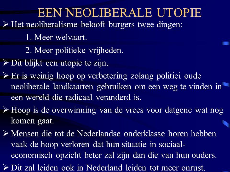 EEN NEOLIBERALE UTOPIE  Het neoliberalisme belooft burgers twee dingen: 1. Meer welvaart. 2. Meer politieke vrijheden.  Dit blijkt een utopie te zij