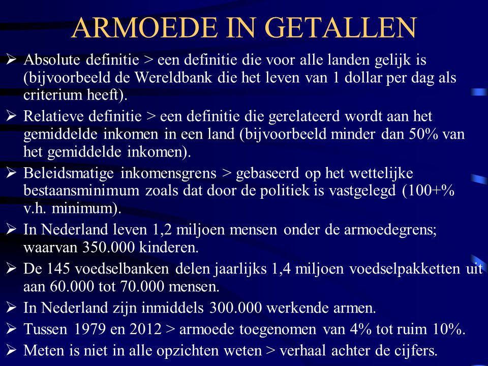 ARMOEDE IN GETALLEN  Absolute definitie > een definitie die voor alle landen gelijk is (bijvoorbeeld de Wereldbank die het leven van 1 dollar per dag