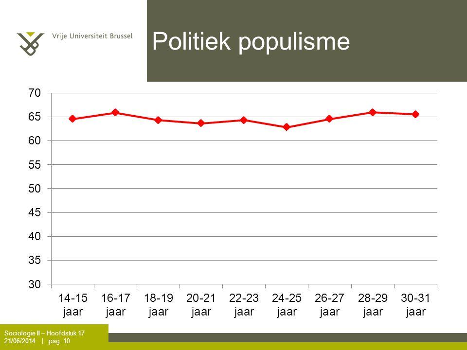 Politiek populisme Sociologie II – Hoofdstuk 17 21/06/2014 | pag. 10