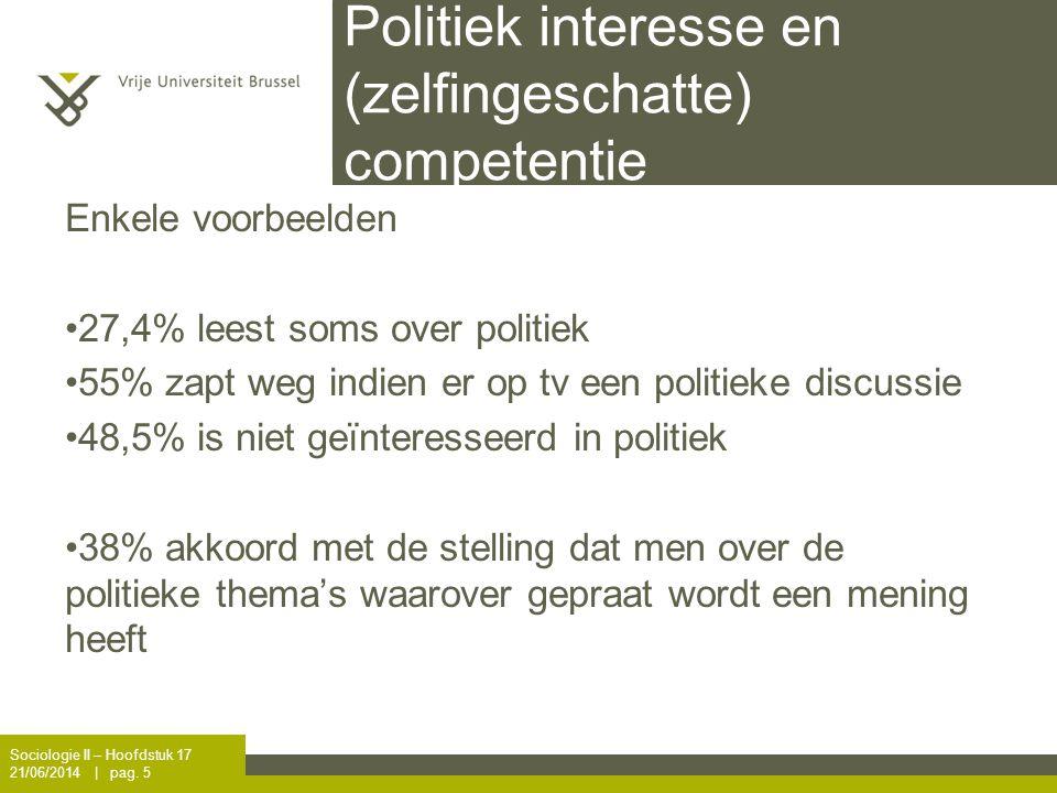 Politiek interesse en (zelfingeschatte) competentie Enkele voorbeelden •27,4% leest soms over politiek •55% zapt weg indien er op tv een politieke dis
