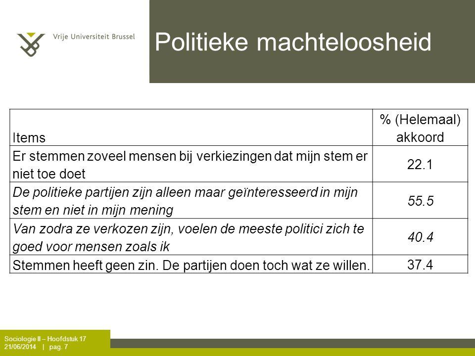 Politieke machteloosheid Sociologie II – Hoofdstuk 17 21/06/2014 | pag. 7 Items % (Helemaal) akkoord Er stemmen zoveel mensen bij verkiezingen dat mij