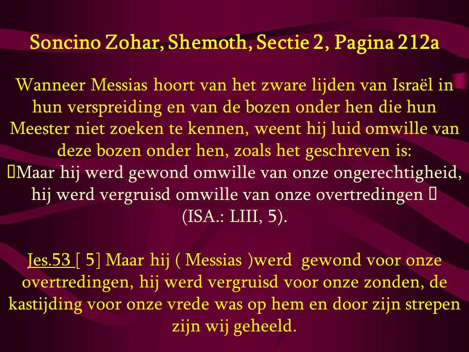 Soncino Zohar, Shemoth, Sectie 2, Pagina 212a Wanneer Messias hoort van het zware lijden van Israël in hun verspreiding en van de bozen onder hen die