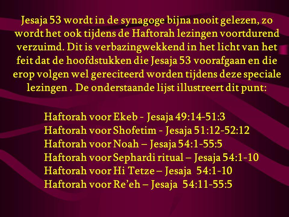 Jesaja 53 wordt in de synagoge bijna nooit gelezen, zo wordt het ook tijdens de Haftorah lezingen voortdurend verzuimd. Dit is verbazingwekkend in het