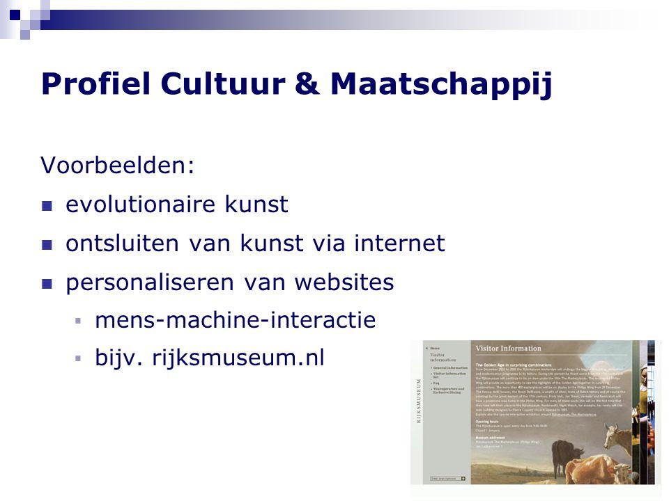 Profiel Cultuur & Maatschappij Voorbeelden:  evolutionaire kunst  ontsluiten van kunst via internet  personaliseren van websites  mens-machine-interactie  bijv.
