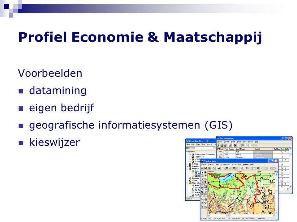 Profiel Economie & Maatschappij Voorbeelden  datamining  eigen bedrijf  geografische informatiesystemen (GIS)  kieswijzer