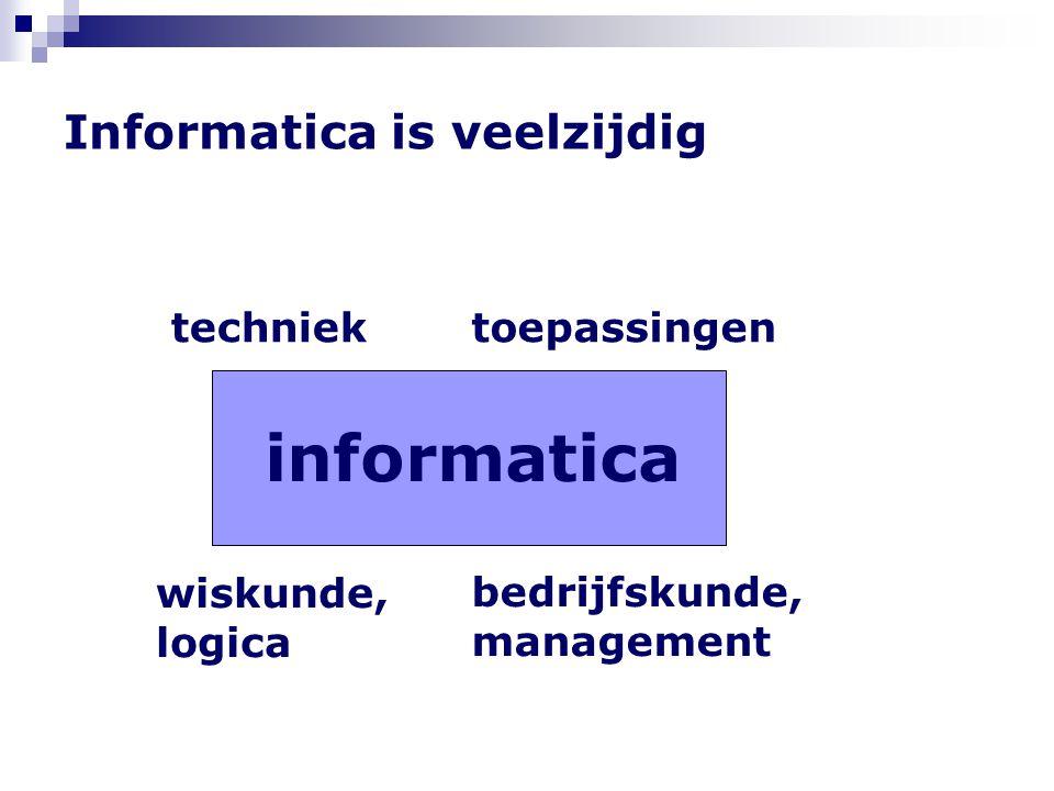 Informatica is veelzijdig techniektoepassingen wiskunde, logica bedrijfskunde, management informatica