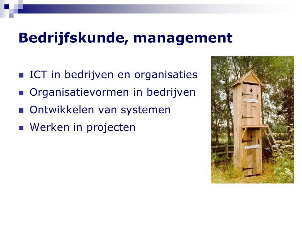 Bedrijfskunde, management  ICT in bedrijven en organisaties  Organisatievormen in bedrijven  Ontwikkelen van systemen  Werken in projecten