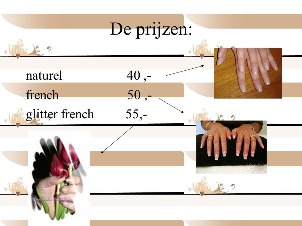 De prijzen van het lakken van je nagels zijn: gewoon lakken 7,95 (incl model vijlen ) lakken icm 2,95 korting lakken nail art v.a.