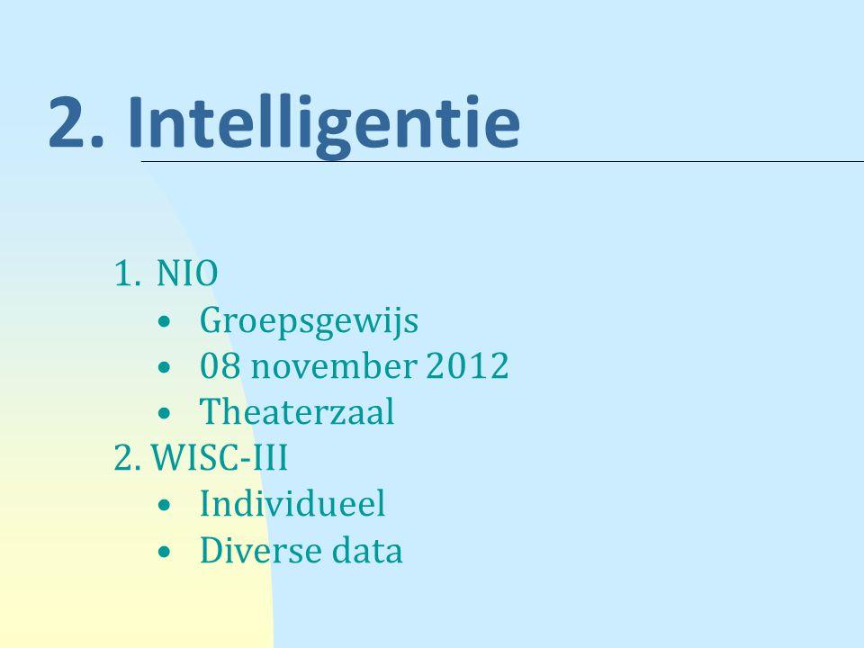 NIO (Nederlandse Intelligentietest voor Onderwijsniveau) De test bestaat uit zes onderdelen.