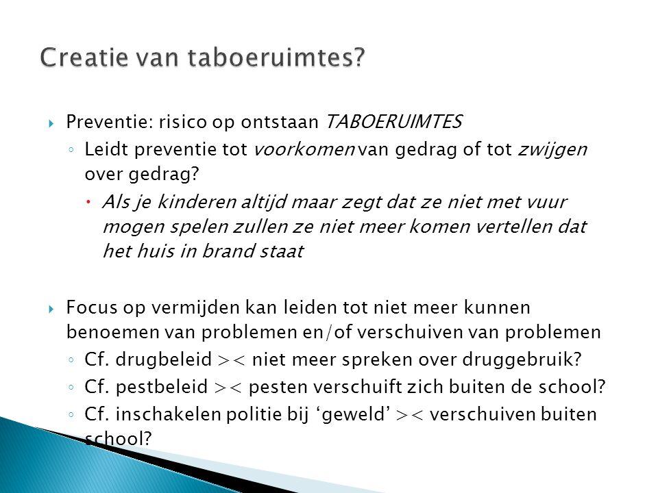  Preventie: risico op ontstaan TABOERUIMTES ◦ Leidt preventie tot voorkomen van gedrag of tot zwijgen over gedrag.