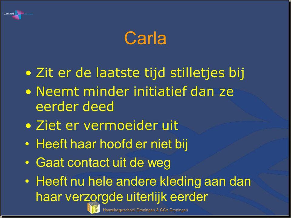 Klik om het opmaakprofiel van de modeltitel te bewerken Hanzehogeschool Groningen & GGz Groningen Carla is somber