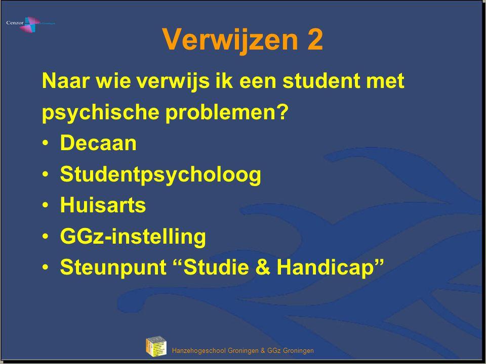 Klik om het opmaakprofiel van de modeltitel te bewerken Hanzehogeschool Groningen & GGz Groningen Stelling De stageplaats moet weten van de psychische problemen van de student