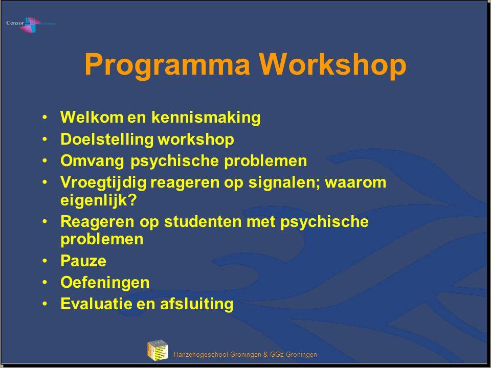 Klik om het opmaakprofiel van de modeltitel te bewerken Hanzehogeschool Groningen & GGz Groningen Programma Workshop •Welkom en kennismaking •Doelstelling workshop •Omvang psychische problemen •Vroegtijdig reageren op signalen; waarom eigenlijk.