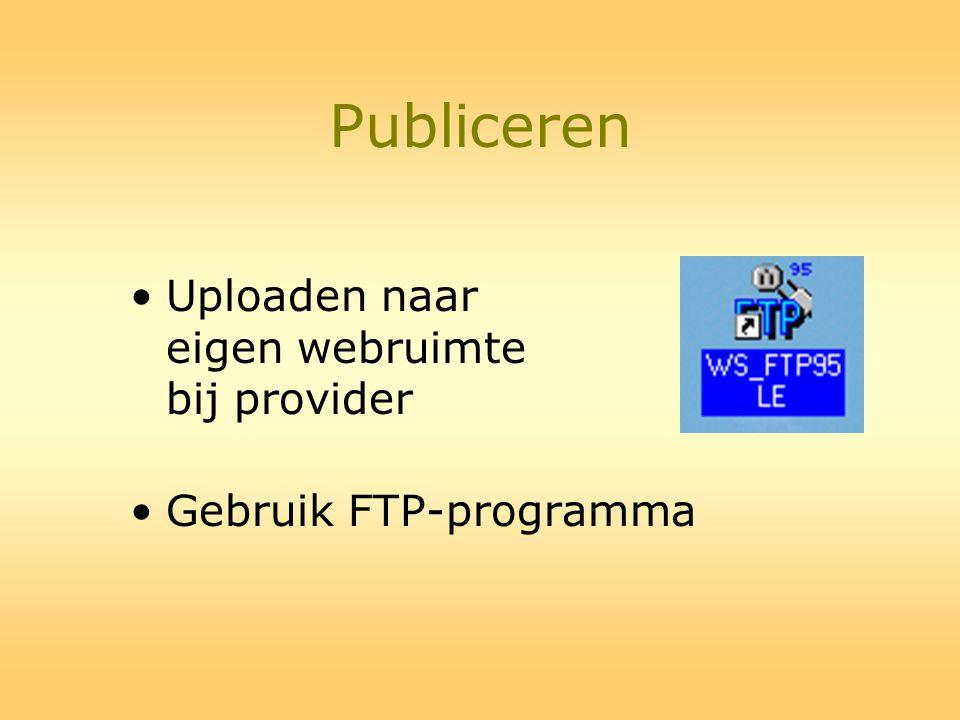 Publiceren •Uploaden naar eigen webruimte bij provider •Gebruik FTP-programma
