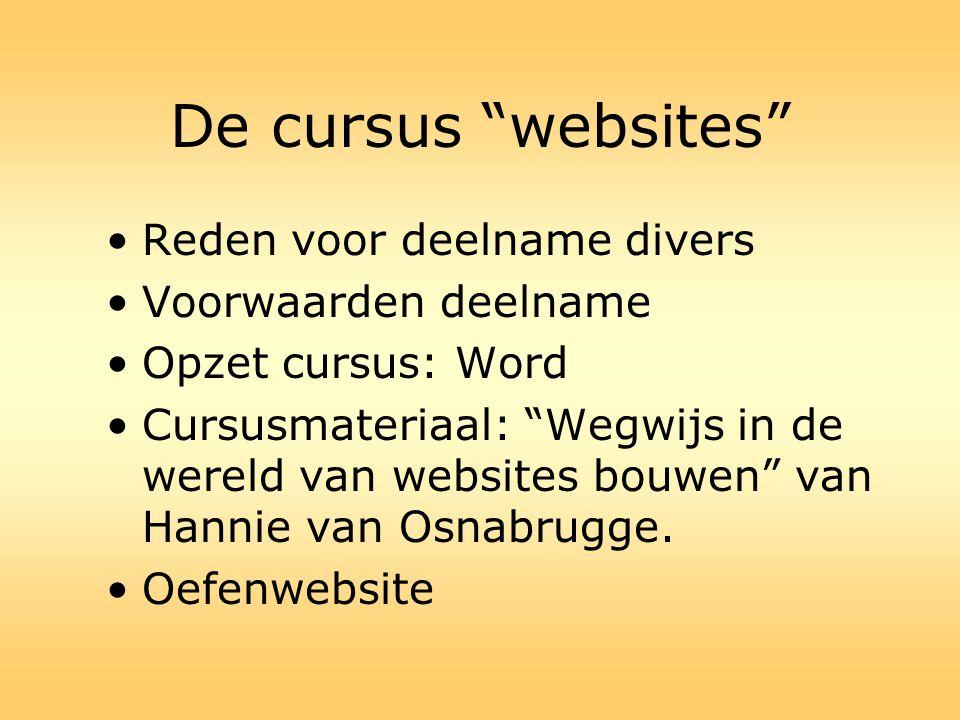 """De cursus """"websites"""" •Reden voor deelname divers •Voorwaarden deelname •Opzet cursus: Word •Cursusmateriaal: """"Wegwijs in de wereld van websites bouwen"""