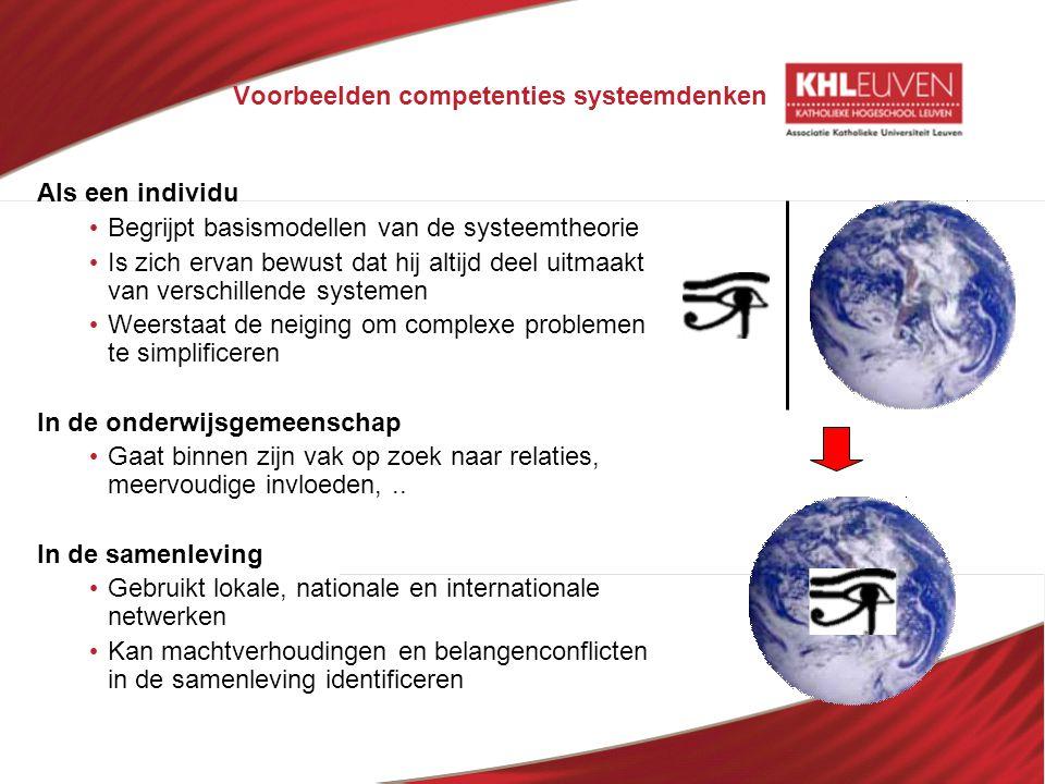 Voorbeelden competenties systeemdenken Als een individu • Begrijpt basismodellen van de systeemtheorie • Is zich ervan bewust dat hij altijd deel uitm