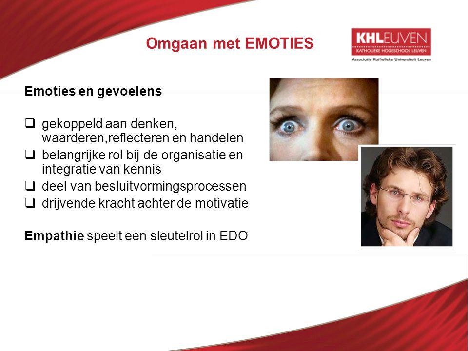 Omgaan met EMOTIES Emoties en gevoelens  gekoppeld aan denken, waarderen,reflecteren en handelen  belangrijke rol bij de organisatie en integratie v