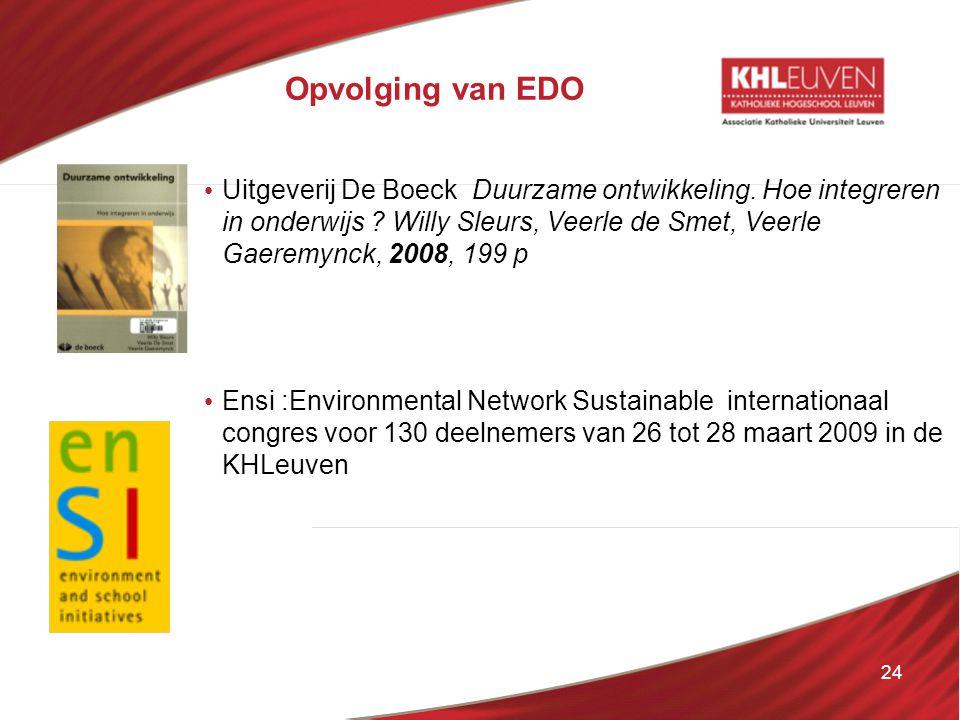 24 Opvolging van EDO • Uitgeverij De Boeck Duurzame ontwikkeling. Hoe integreren in onderwijs ? Willy Sleurs, Veerle de Smet, Veerle Gaeremynck, 2008,