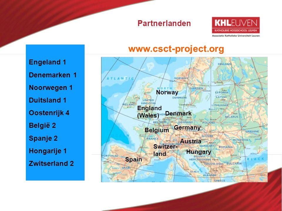 Partnerlanden Norway Hungary Austria Germany Spain England (Wales) Belgium Denmark Switzer- land Engeland 1 Denemarken 1 Noorwegen 1 Duitsland 1 Ooste