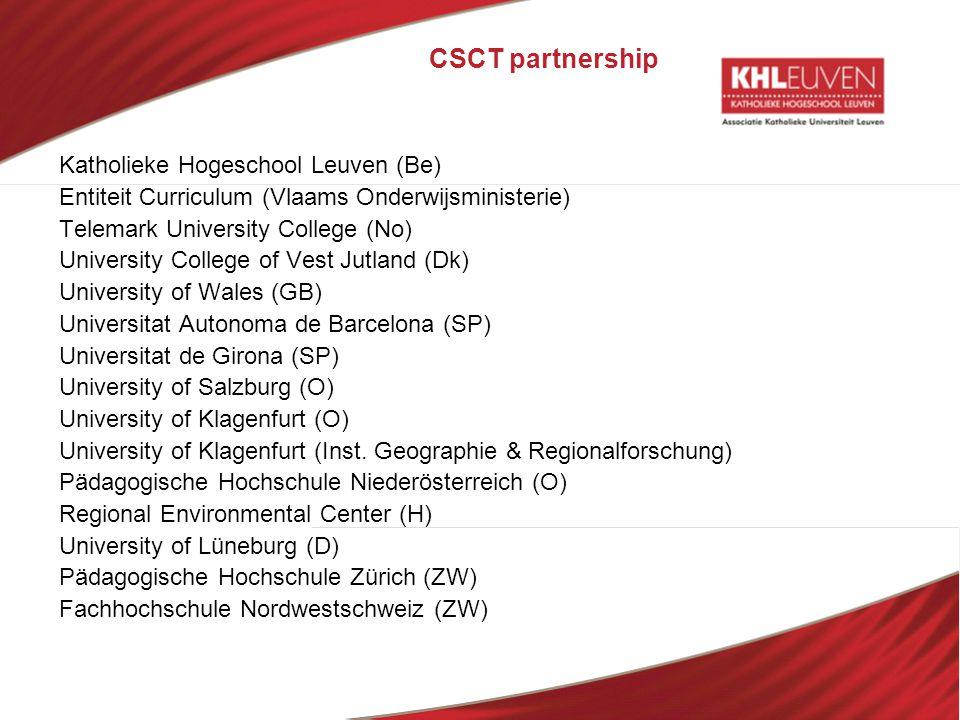 CSCT partnership Katholieke Hogeschool Leuven (Be) Entiteit Curriculum (Vlaams Onderwijsministerie) Telemark University College (No) University Colleg