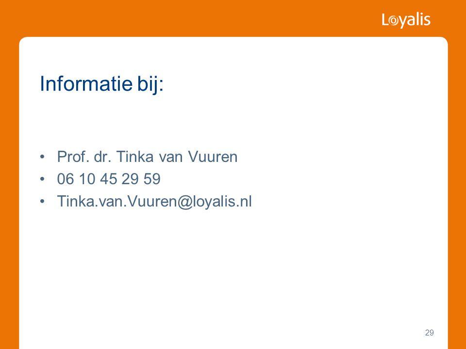 29 Informatie bij: •Prof. dr. Tinka van Vuuren •06 10 45 29 59 •Tinka.van.Vuuren@loyalis.nl