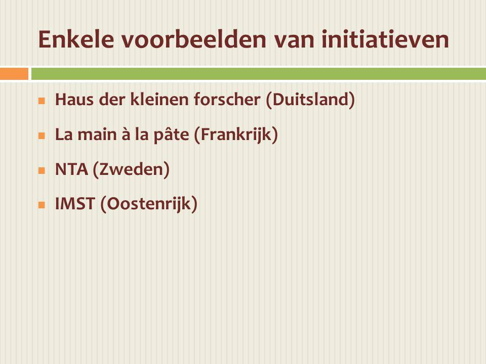 Enkele voorbeelden van initiatieven  Haus der kleinen forscher (Duitsland)  La main à la pâte (Frankrijk)  NTA (Zweden)  IMST (Oostenrijk)