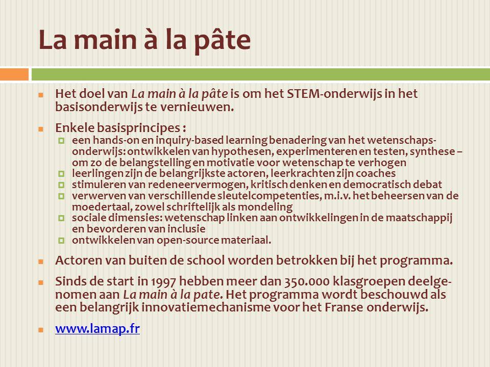 La main à la pâte  Het doel van La main à la pâte is om het STEM-onderwijs in het basisonderwijs te vernieuwen.
