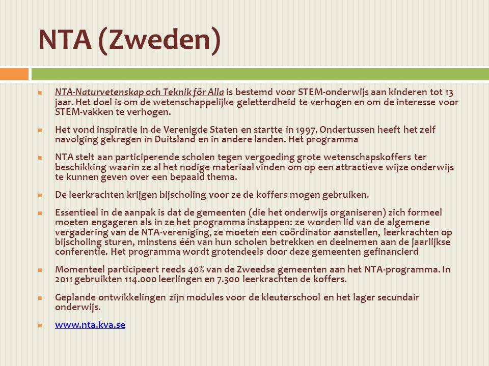 NTA-Naturvetenskap och Teknik för Alla is bestemd voor STEM-onderwijs aan kinderen tot 13 jaar.
