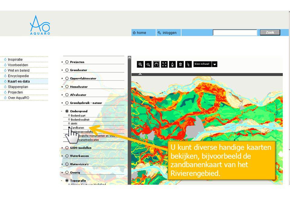 U kunt diverse handige kaarten bekijken, bijvoorbeeld de zandbanenkaart van het Rivierengebied.