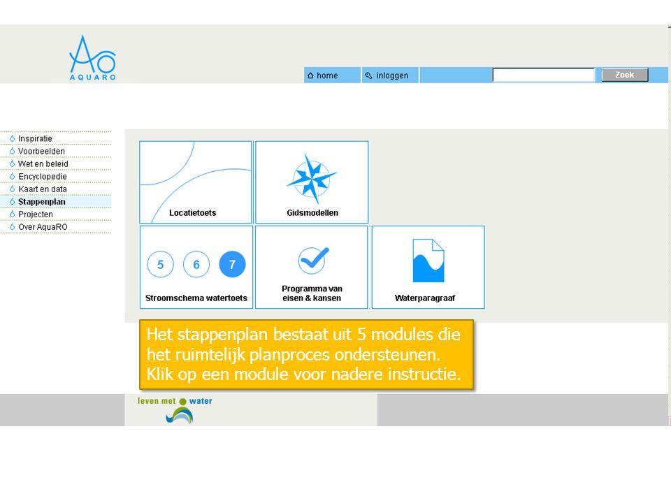 Het stappenplan bestaat uit 5 modules die het ruimtelijk planproces ondersteunen.