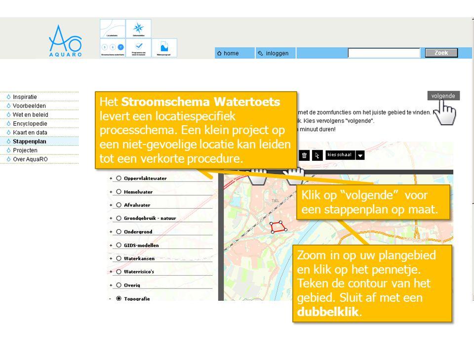 """Klik op """"volgende"""" voor een stappenplan op maat. Zoom in op uw plangebied en klik op het pennetje. Teken de contour van het gebied. Sluit af met een d"""