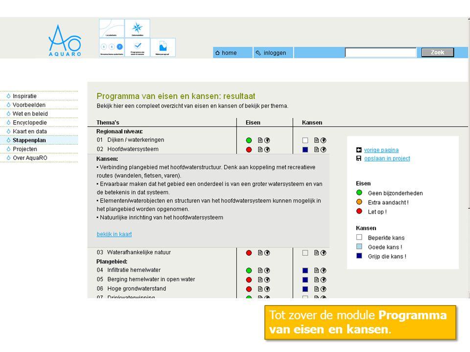 Tot zover de module Programma van eisen en kansen.