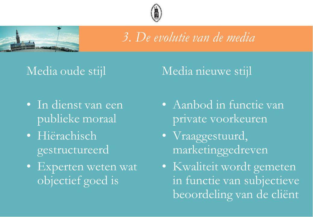 Media oude stijl •In dienst van een publieke moraal •Hiërachisch gestructureerd •Experten weten wat objectief goed is Media nieuwe stijl •Aanbod in fu