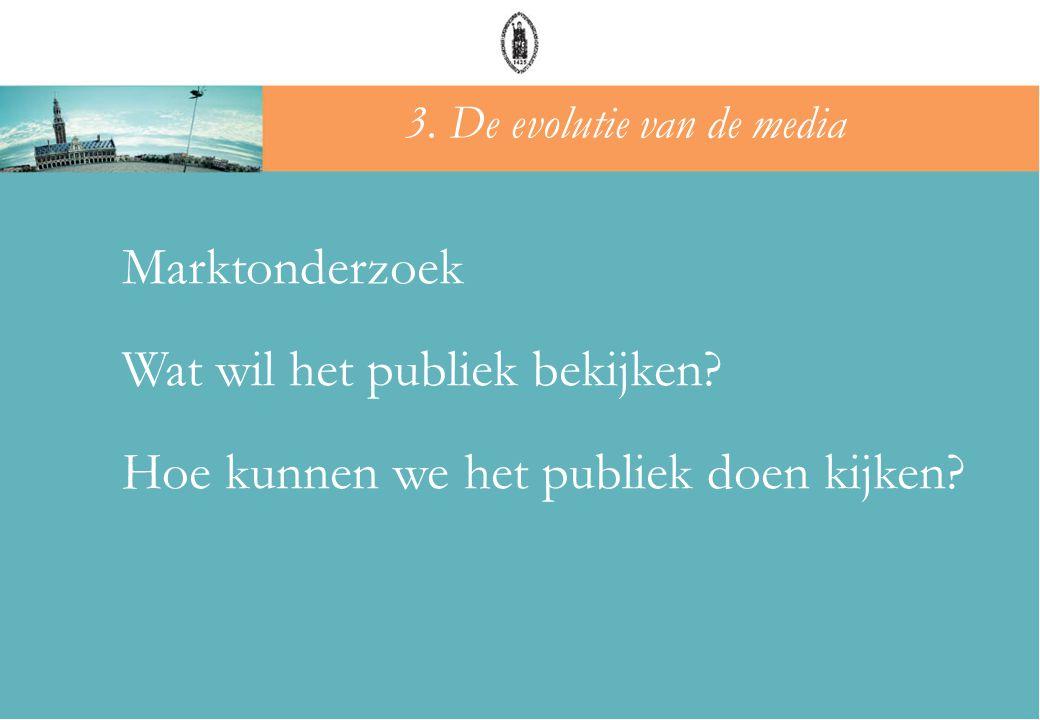Marktonderzoek Wat wil het publiek bekijken? Hoe kunnen we het publiek doen kijken? 3. De evolutie van de media
