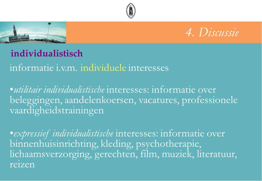 groepsdruk individualistisch informatie i.v.m. individuele interesses •utilitair individualistische interesses: informatie over beleggingen, aandelenk