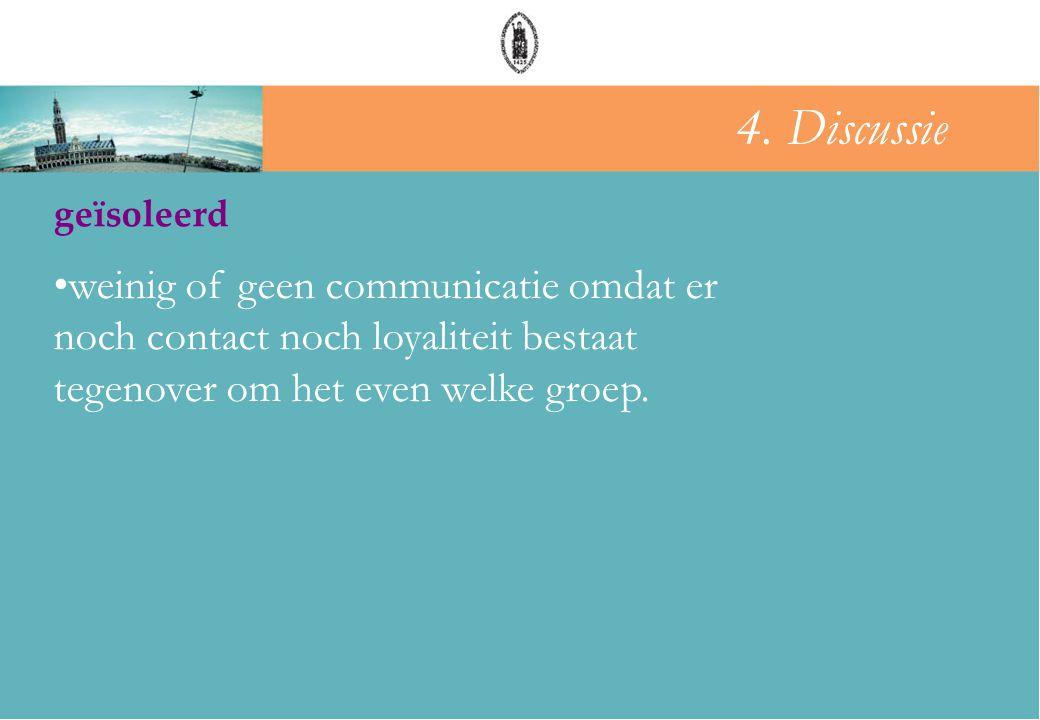 groepsdruk geïsoleerd •weinig of geen communicatie omdat er noch contact noch loyaliteit bestaat tegenover om het even welke groep. 4. Discussie