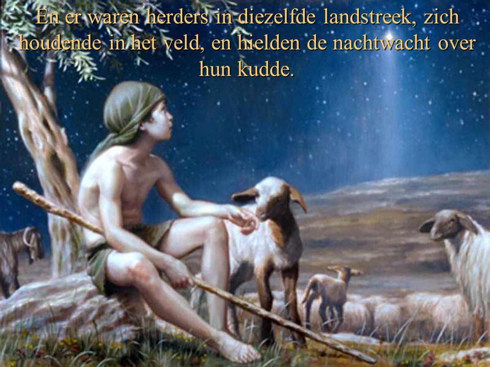 En er waren herders in diezelfde landstreek, zich houdende in het veld, en hielden de nachtwacht over hun kudde.