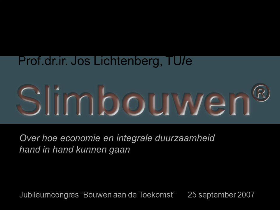 """""""Bouwen aan de Toekomst"""" 25 september 2007 Jos Lichtenberg I nno B uild Prof.dr.ir. Jos Lichtenberg, TU/e Over hoe economie en integrale duurzaamheid"""