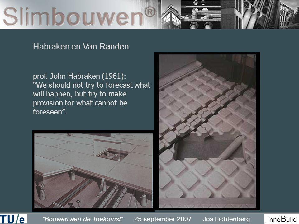 """""""Bouwen aan de Toekomst"""" 25 september 2007 Jos Lichtenberg I nno B uild Habraken en Van Randen prof. John Habraken (1961): """"We should not try to forec"""