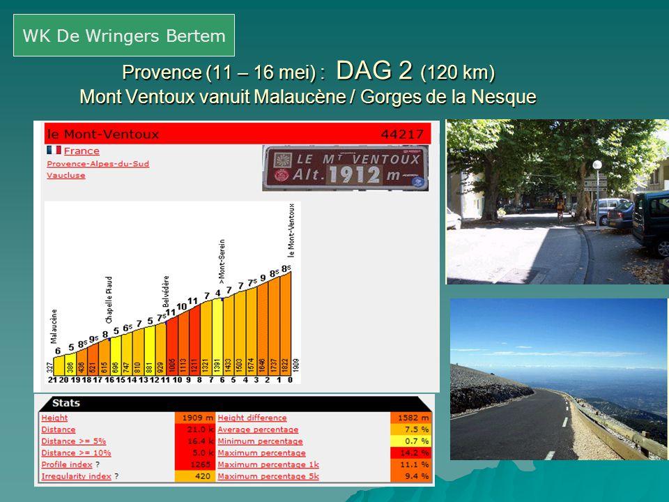 Provence (11 – 16 mei) : DAG 2 (120 km) Mont Ventoux vanuit Malaucène / Gorges de la Nesque WK De Wringers Bertem