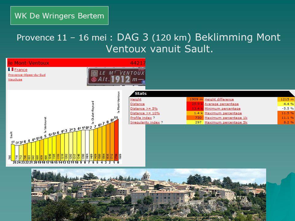 Provence 11 – 16 mei : DAG 3 (120 km ) Beklimming Mont Ventoux vanuit Sault. WK De Wringers Bertem