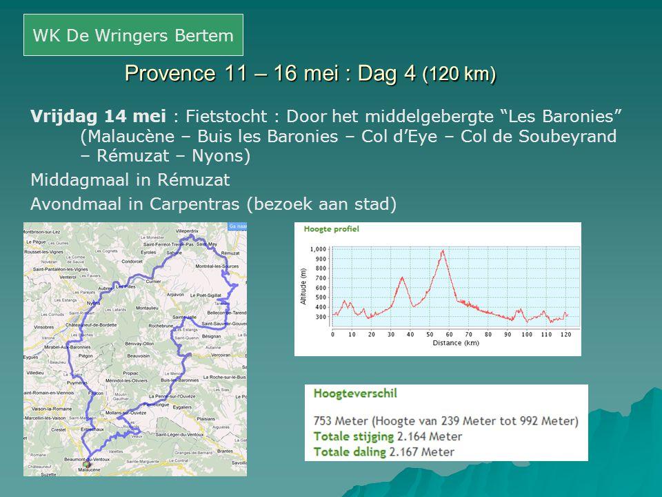 """Provence 11 – 16 mei : Dag 4 (120 km) Vrijdag 14 mei : Fietstocht : Door het middelgebergte """"Les Baronies"""" (Malaucène – Buis les Baronies – Col d'Eye"""