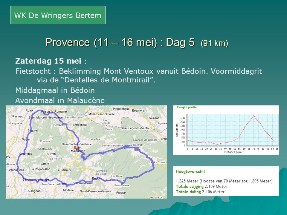 "Provence (11 – 16 mei) : Dag 5 (91 km) Zaterdag 15 mei : Fietstocht : Beklimming Mont Ventoux vanuit Bédoin. Voormiddagrit via de ""Dentelles de Montmi"