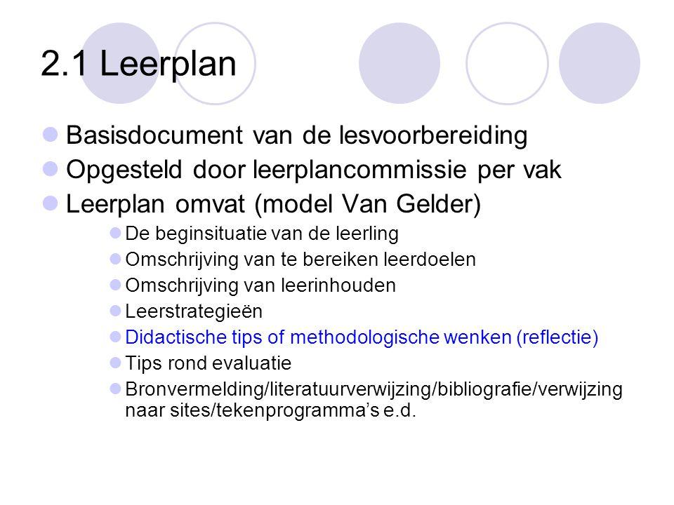 2.1 Leerplan  Basisdocument van de lesvoorbereiding  Opgesteld door leerplancommissie per vak  Leerplan omvat (model Van Gelder)  De beginsituatie