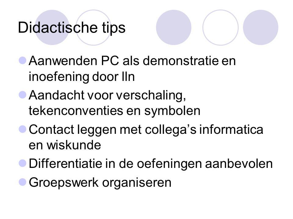 Didactische tips  Aanwenden PC als demonstratie en inoefening door lln  Aandacht voor verschaling, tekenconventies en symbolen  Contact leggen met