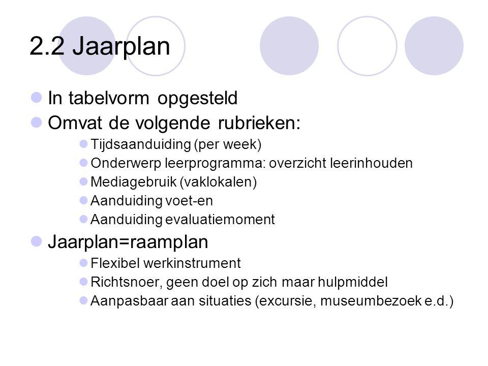 2.2 Jaarplan  In tabelvorm opgesteld  Omvat de volgende rubrieken:  Tijdsaanduiding (per week)  Onderwerp leerprogramma: overzicht leerinhouden 