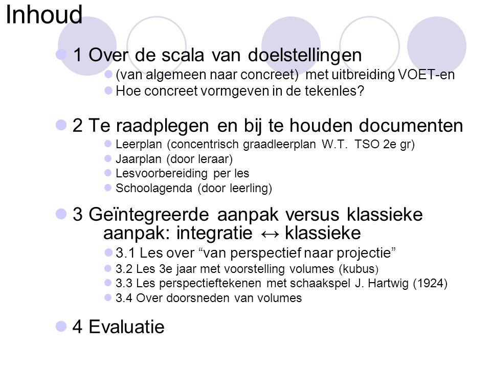 Inhoud  1 Over de scala van doelstellingen  (van algemeen naar concreet) met uitbreiding VOET-en  Hoe concreet vormgeven in de tekenles?  2 Te raa