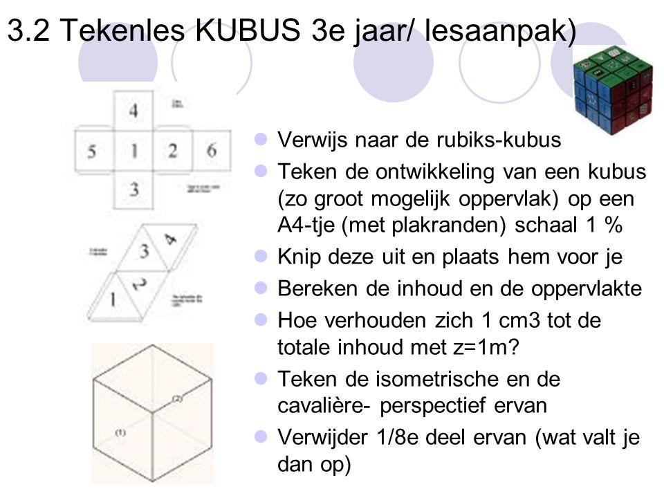 3.2 Tekenles KUBUS 3e jaar/ lesaanpak)  Verwijs naar de rubiks-kubus  Teken de ontwikkeling van een kubus (zo groot mogelijk oppervlak) op een A4-tj